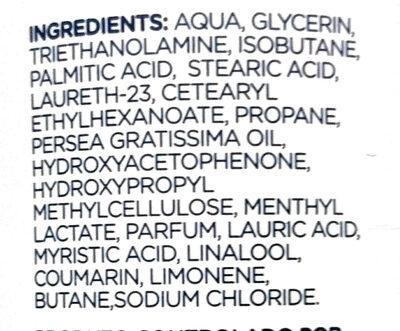 Espuma de barbear sensitive - Ingredientes - pt