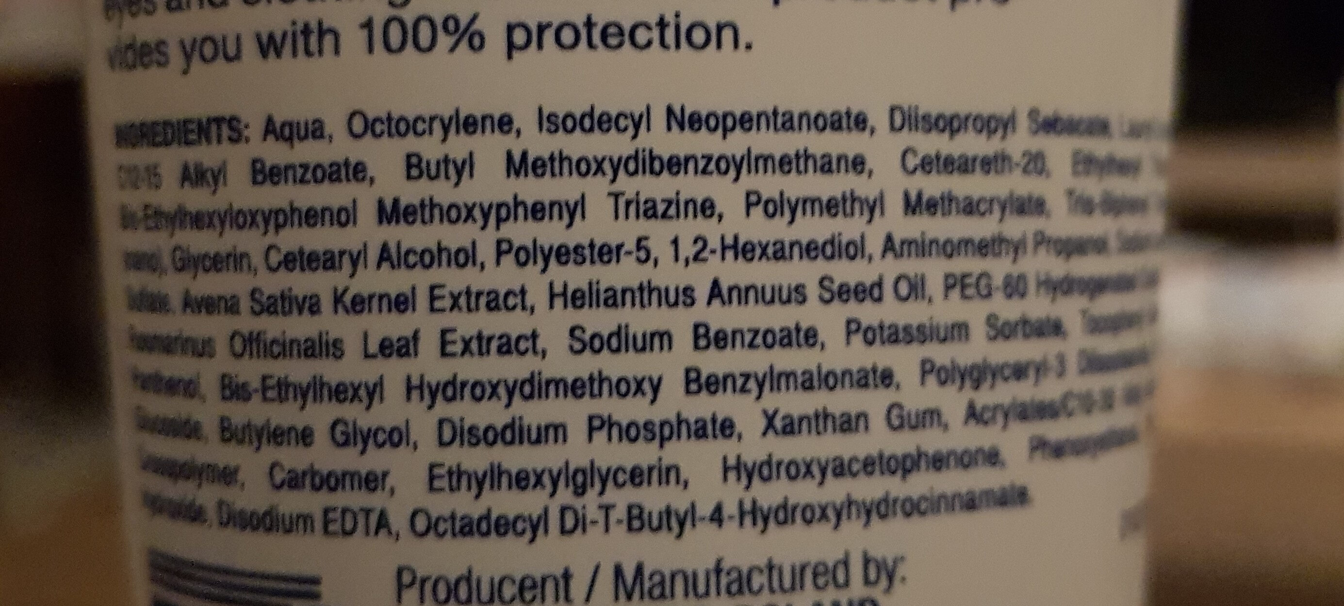 Hipoalergiczna emulsja do opalania spf 50+ - Ingredients - fr