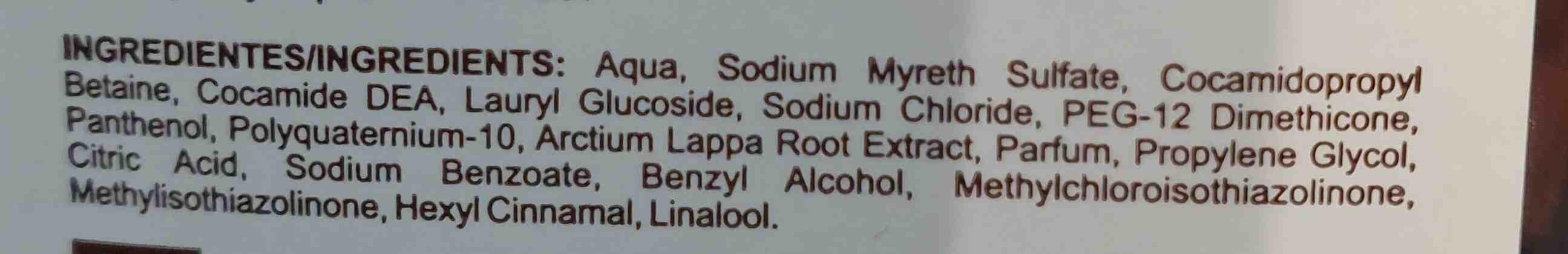Champu contra la caida de cabello bardana - Ingredients - en