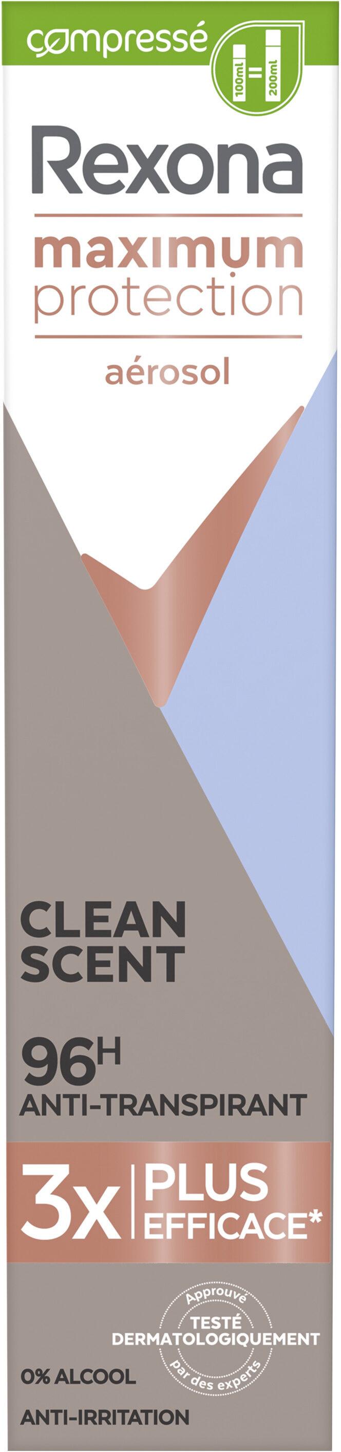 REXONA Déodorant Aérosol Compressé Femme Anti-Transpirant Maximum Protection 96H Clean Scent - Product - fr