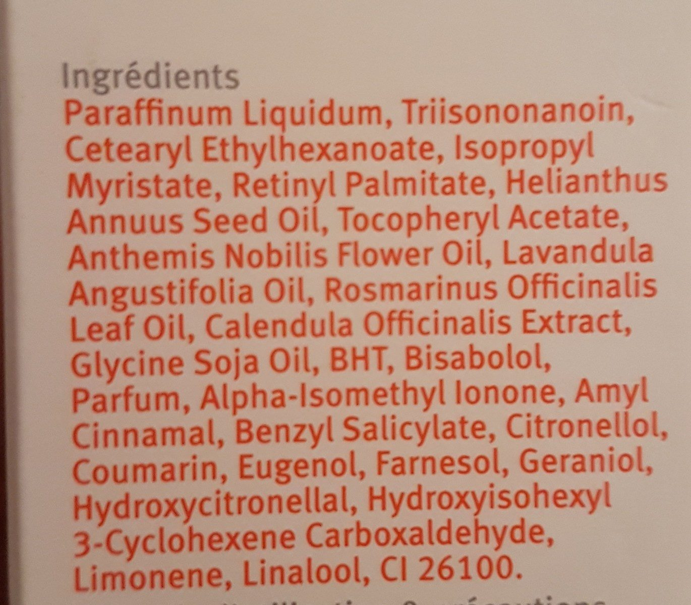Soin de la peau (CICATRICES, VERGETURES, TEINT IRRÉGULIER) - Ingredients