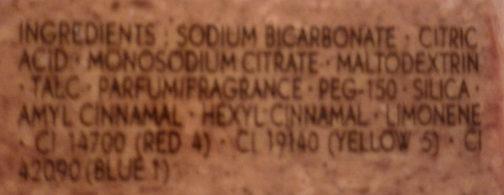Cube pétillant pour le bain Vanille - Ingredients