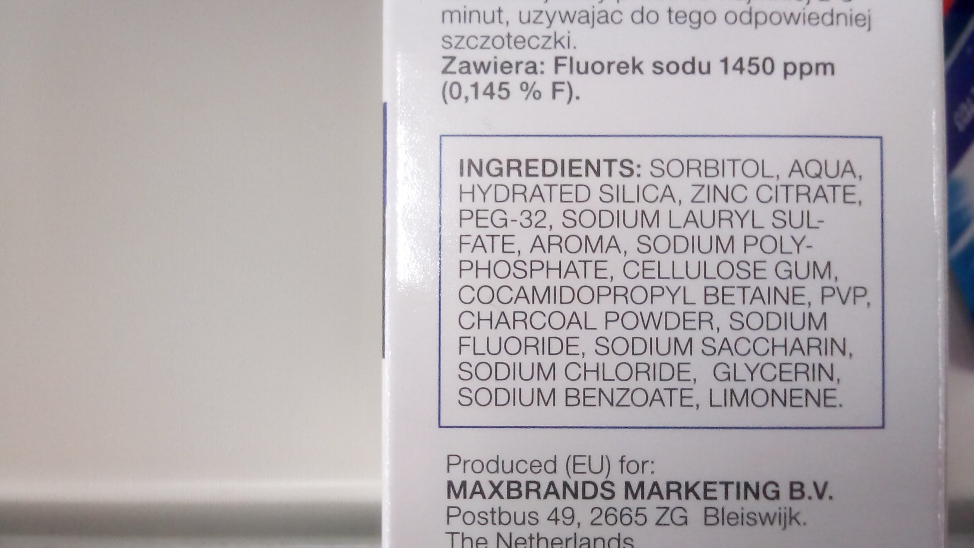 DENTIFRICE AU CHARBON ACTIF - Ingredients