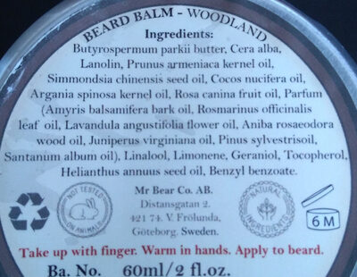 Beard Balm - Woodland - Ingredients - en