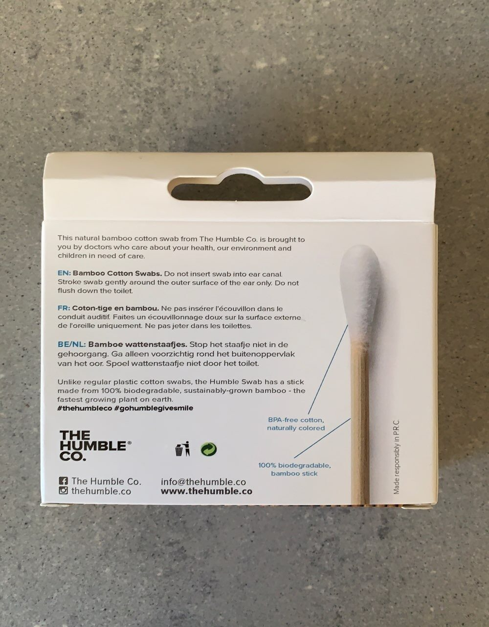 Eco friendly & socially responsible bamboo cotton swabs - Ingredients - en