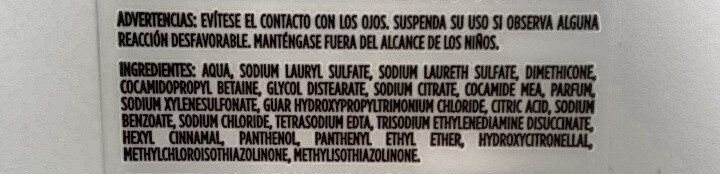 Pantene ProV - Ingredients - es