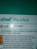 Gel Hydro-alcoolique Biocide Softalind Viscorub - Ingredients