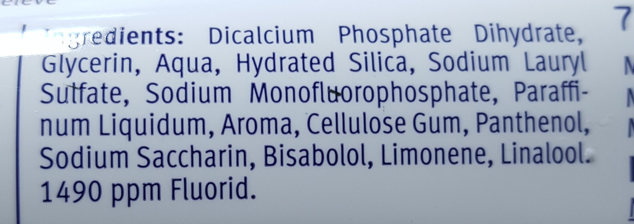 Caries Protection Peppermint - Ingredients - fr