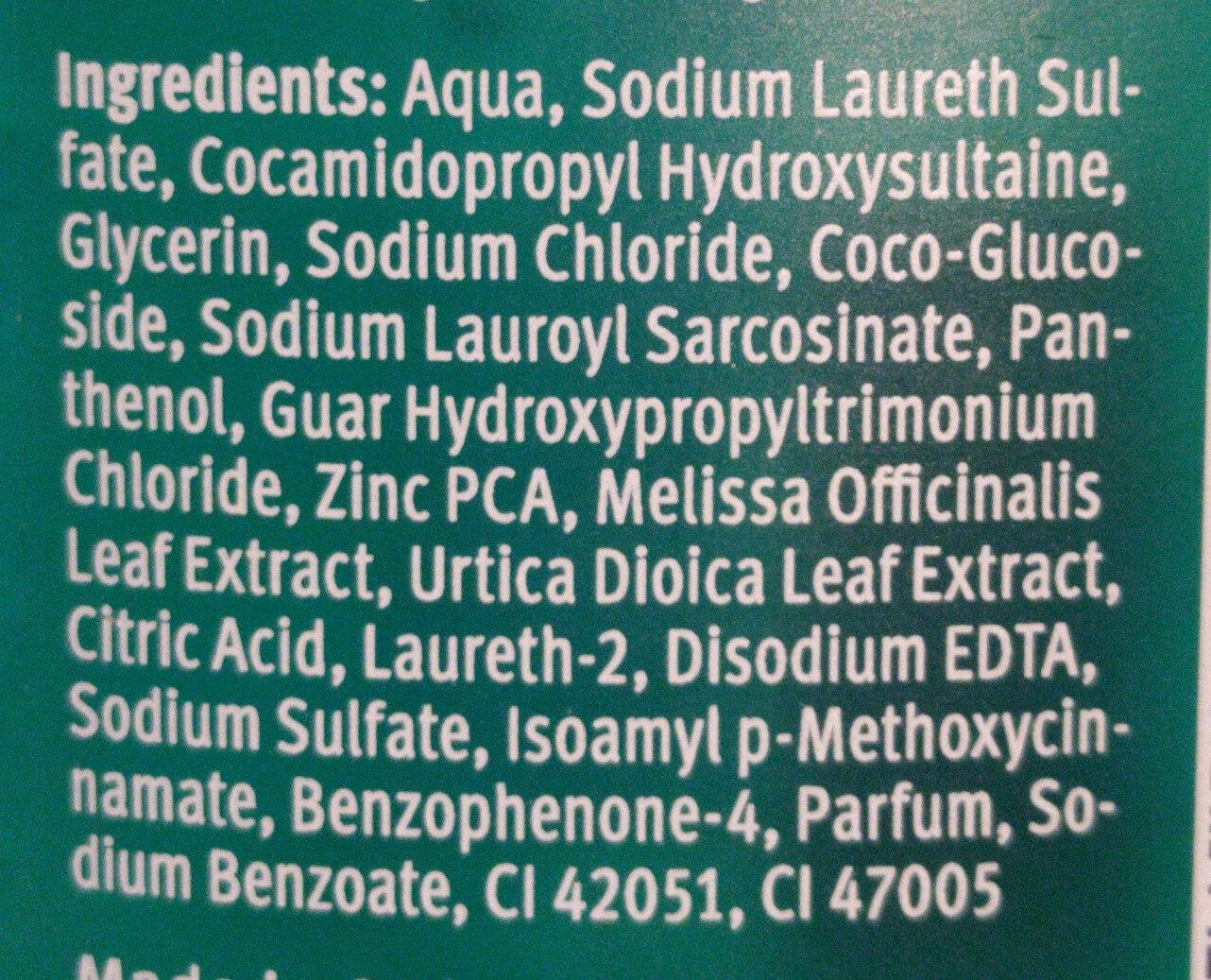 Shampoo Anti-Fett BRENNESSLN & MELISSE - Ingrédients - de