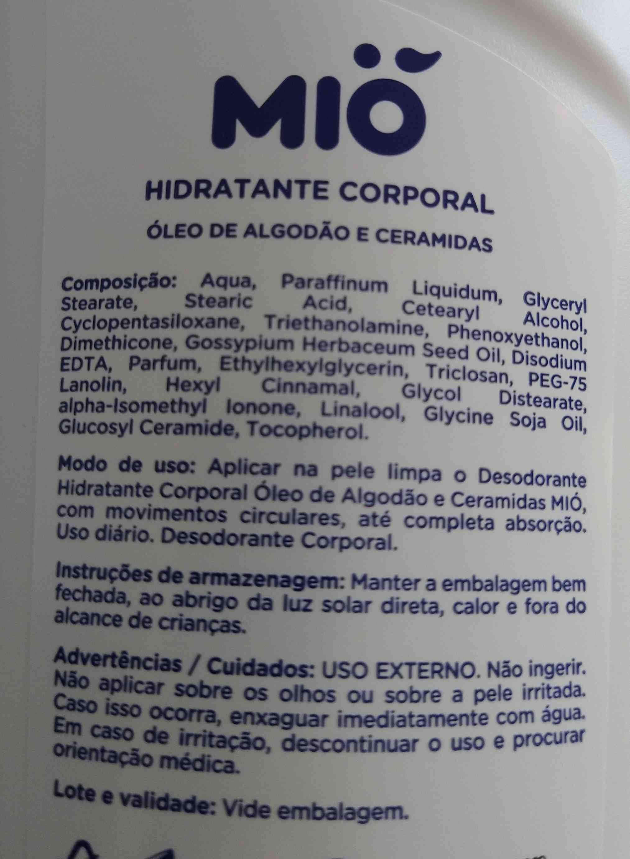 mio hidratante corporal - Ingredients - en