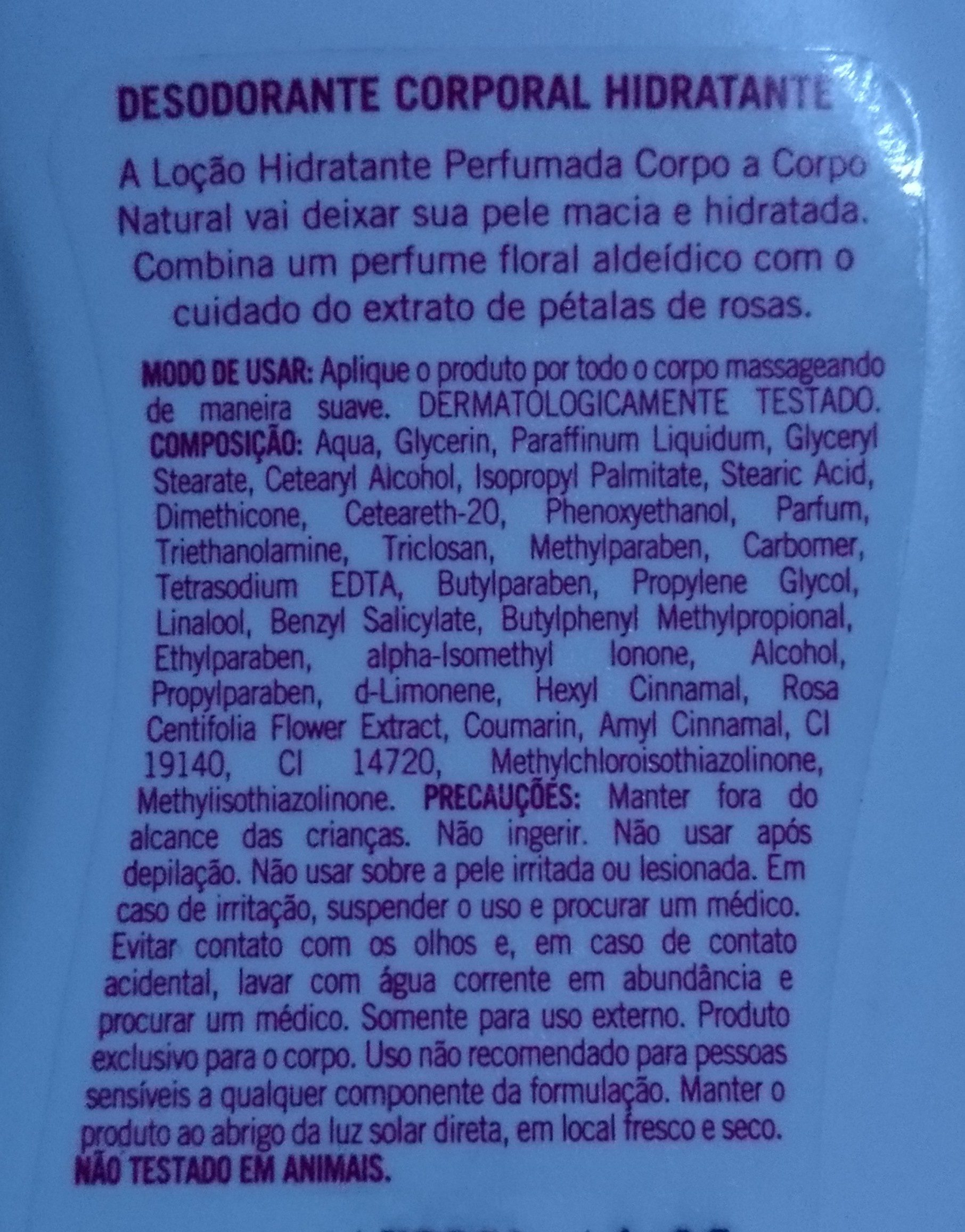 corpo a corpo - Ingredients - pt