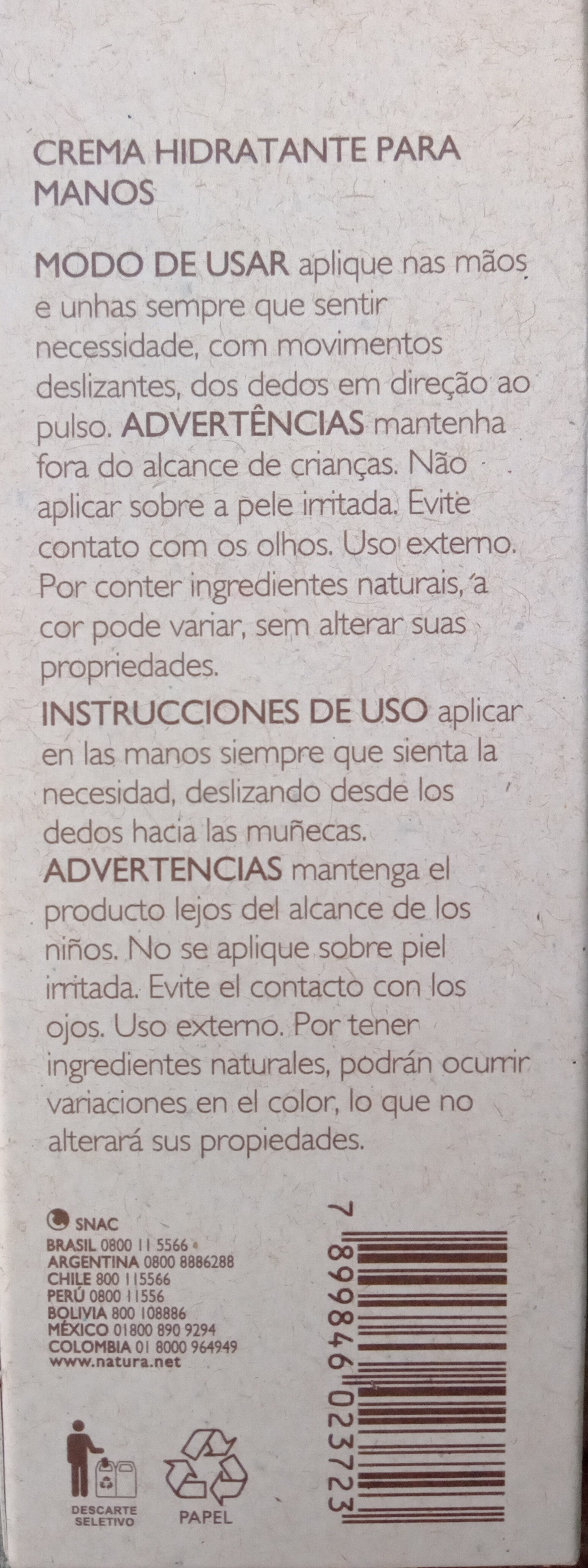 Crema hidratante para manos EKOS Castanha - Product - en
