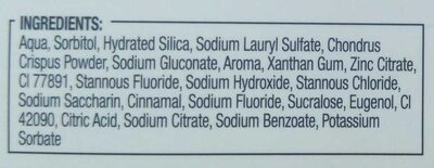 Dentifrice bi-fluoré - Ingredients - fr
