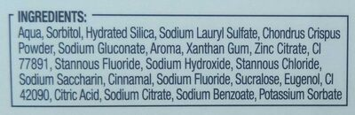Dentifrice bi-fluoré - Ingredients - fr