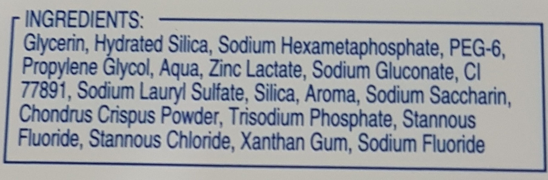 dentifrice oral b - Ingredients