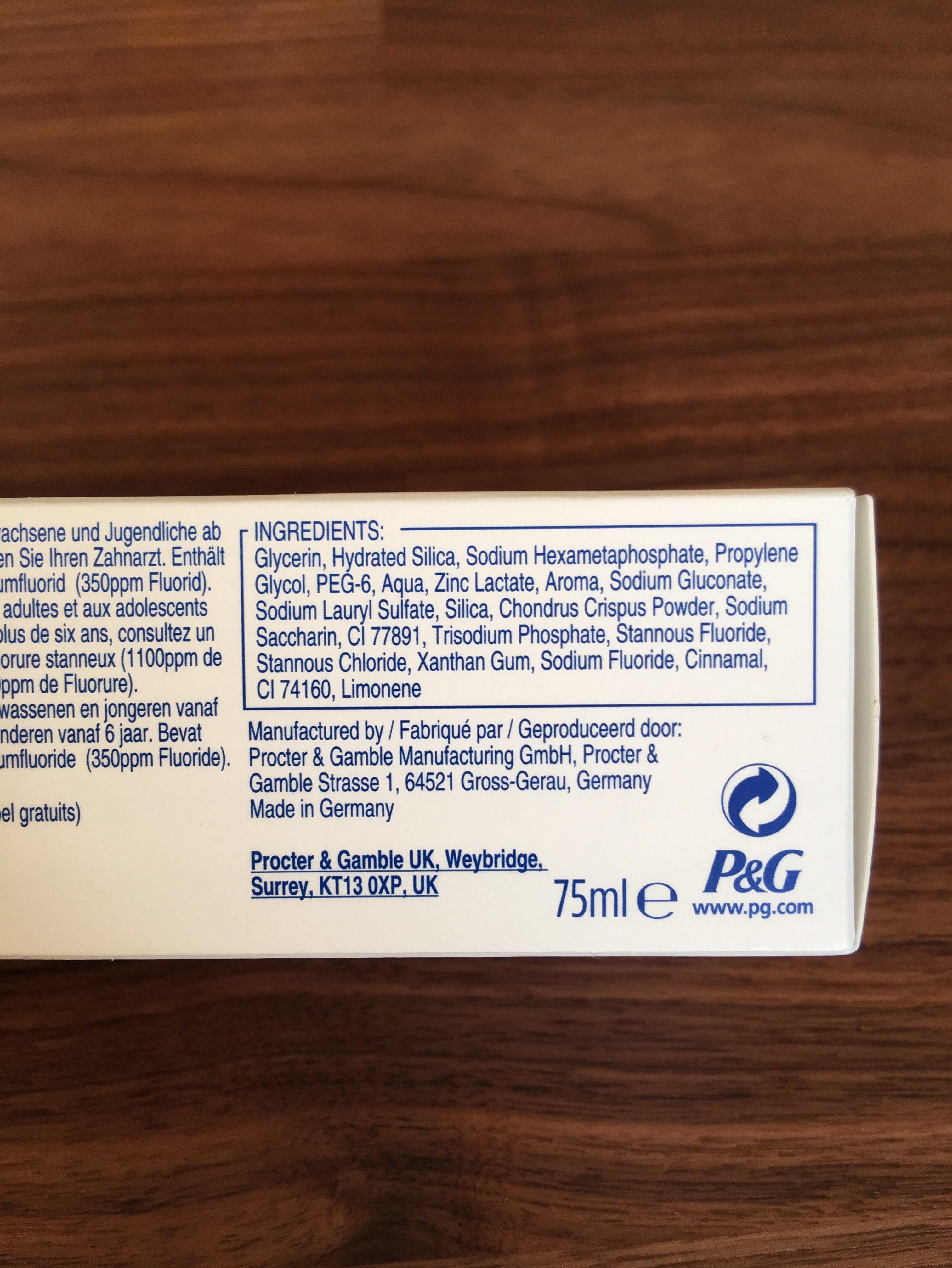 Extra fraicheur répare gencives et email - Ingredients - fr