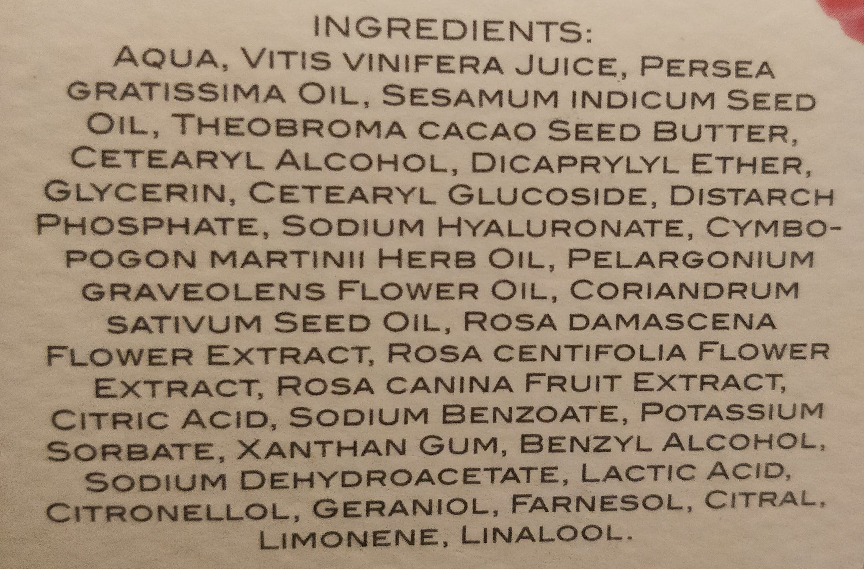 Crema viso antitetà - Ingrédients - it