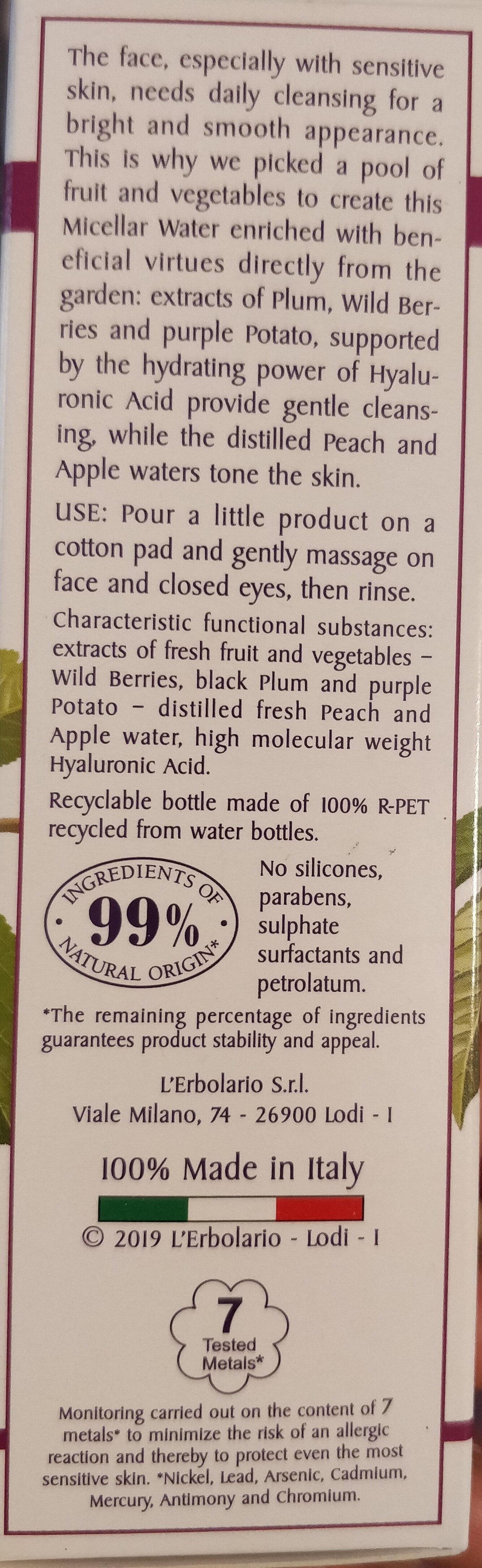 Acqua micellare addolcente, i colori dell'orto - Product - en