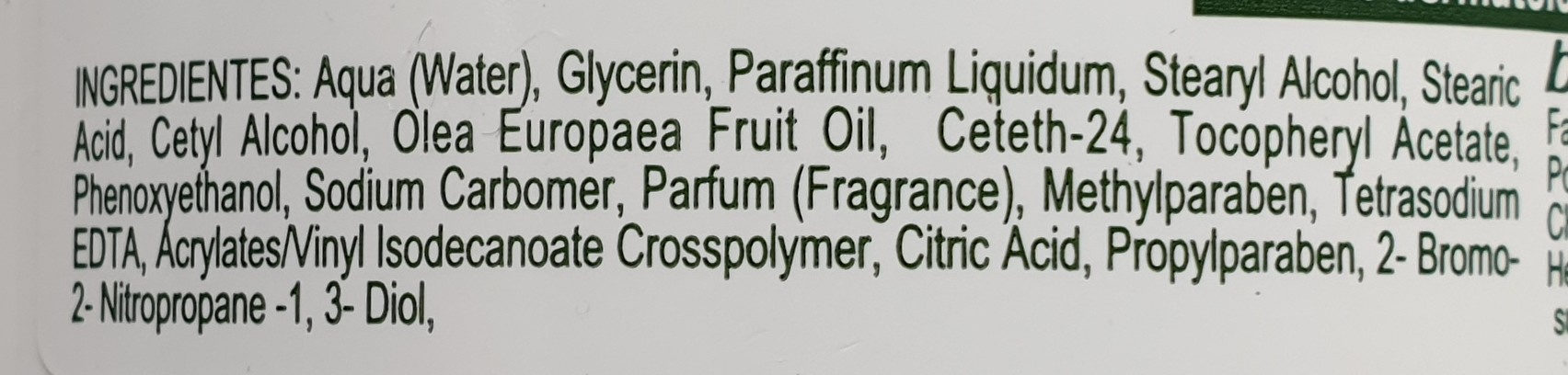 Olive oil moisturizing body cream - Ingredients