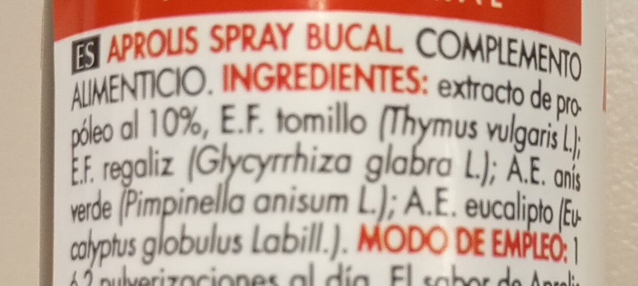 Spray bucal - Ingrédients - es