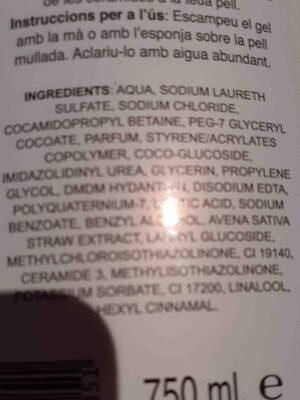 gel de bano avena - Ingrédients - en