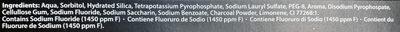 Dentifrice Charbon - Ingredients - fr