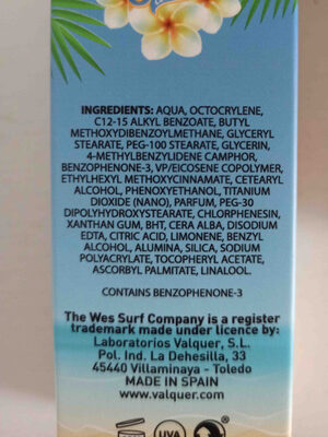 facial suncare wes - Ingredients