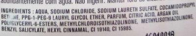 Gel douche nutrition à l'huile d'argan - Ingredients