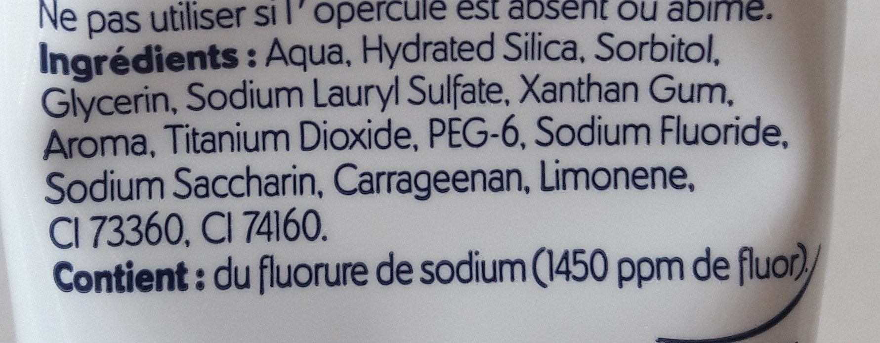Aquafresh Triple Protection - Menthe Fraîche - Ingredients