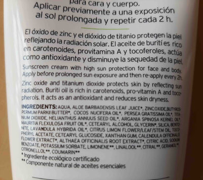 Protector solar. FPS 50, amapola bio cosmetics - Ingredients - en