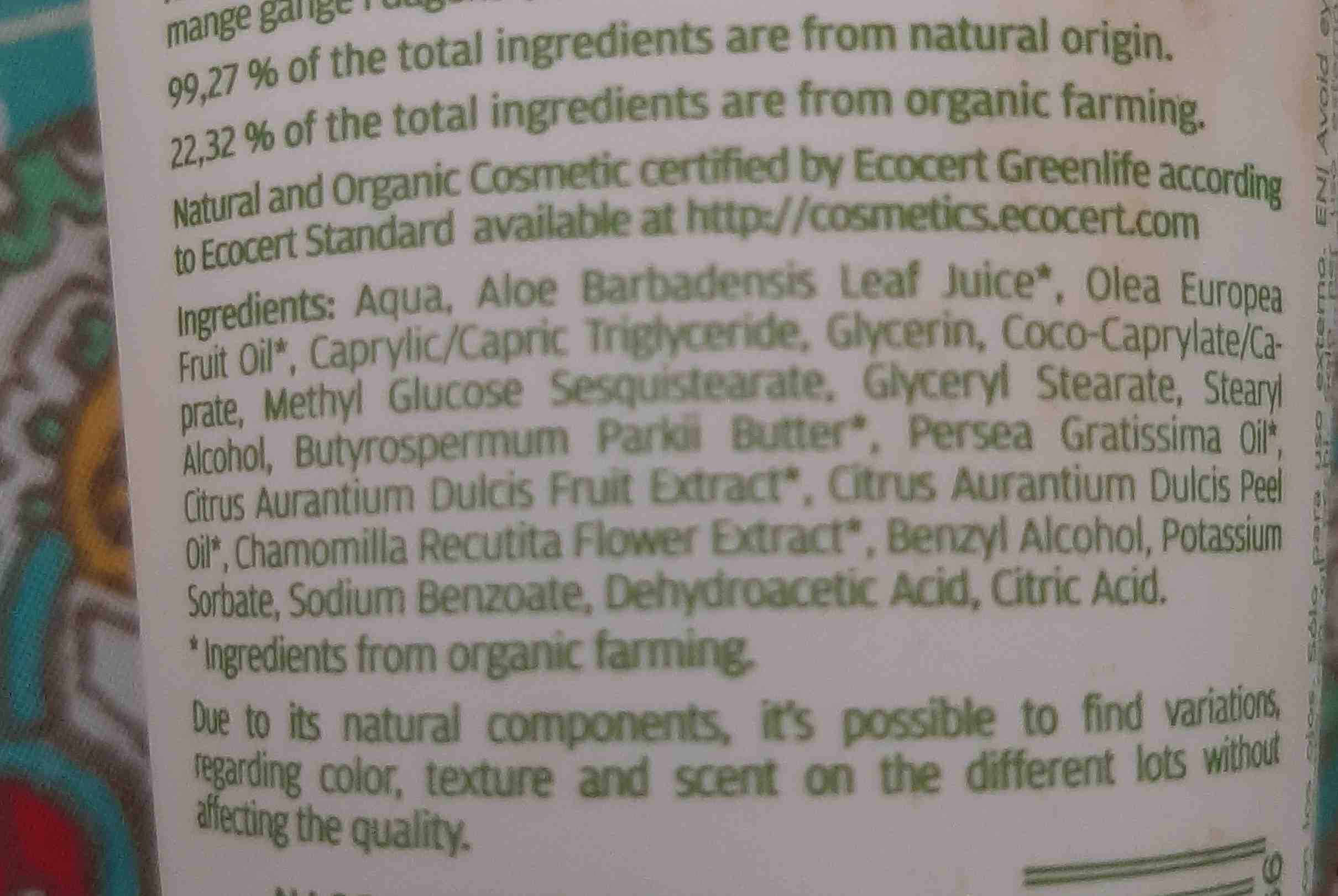 Crema de manos regenerante orange juice. Naobay - Ingredients - en