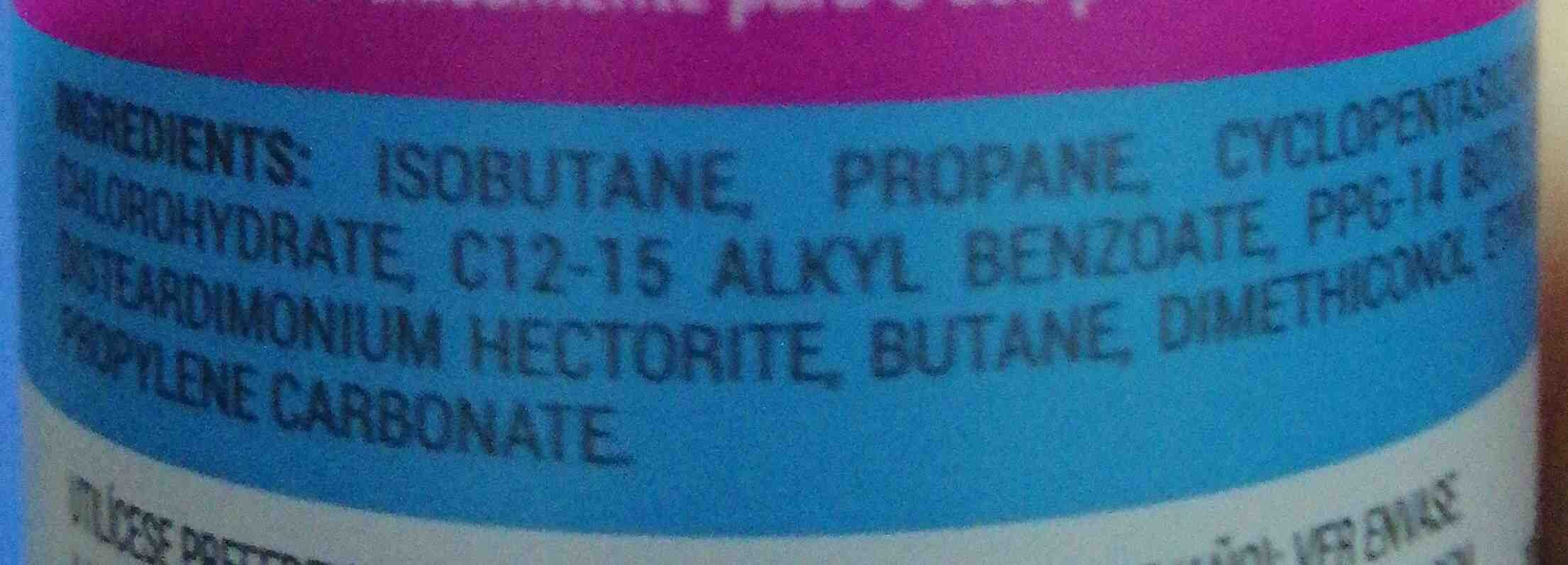Desodorante afrutado en spray - Ingredients