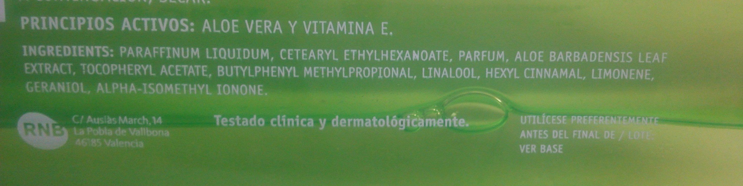 Aceite Corporal Aloe Vera - Ingredients - es