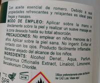 Alcohol de Romero - Ingredients - en