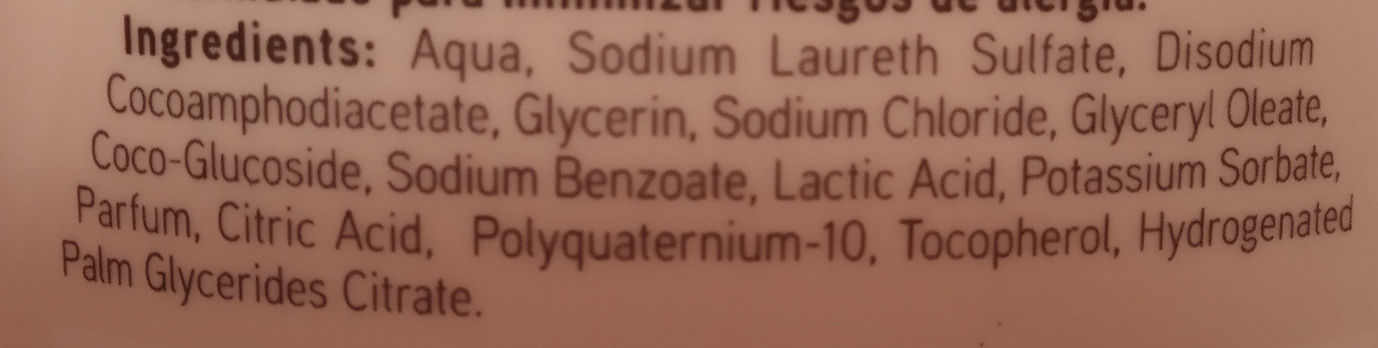 Gel intimo - Ingredients