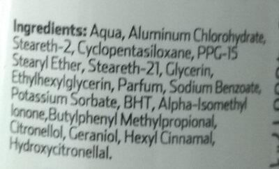 Desodorante - Ingredients - es