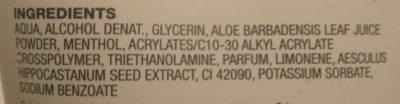 Gel dE Piernas Cansadas - Ingredients
