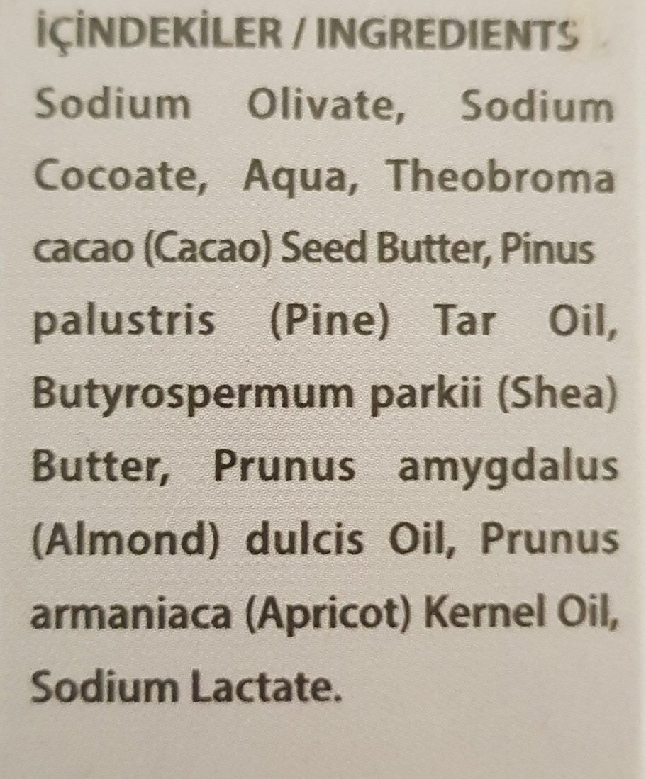 Pine Tar Herbal Soap - Ingredients