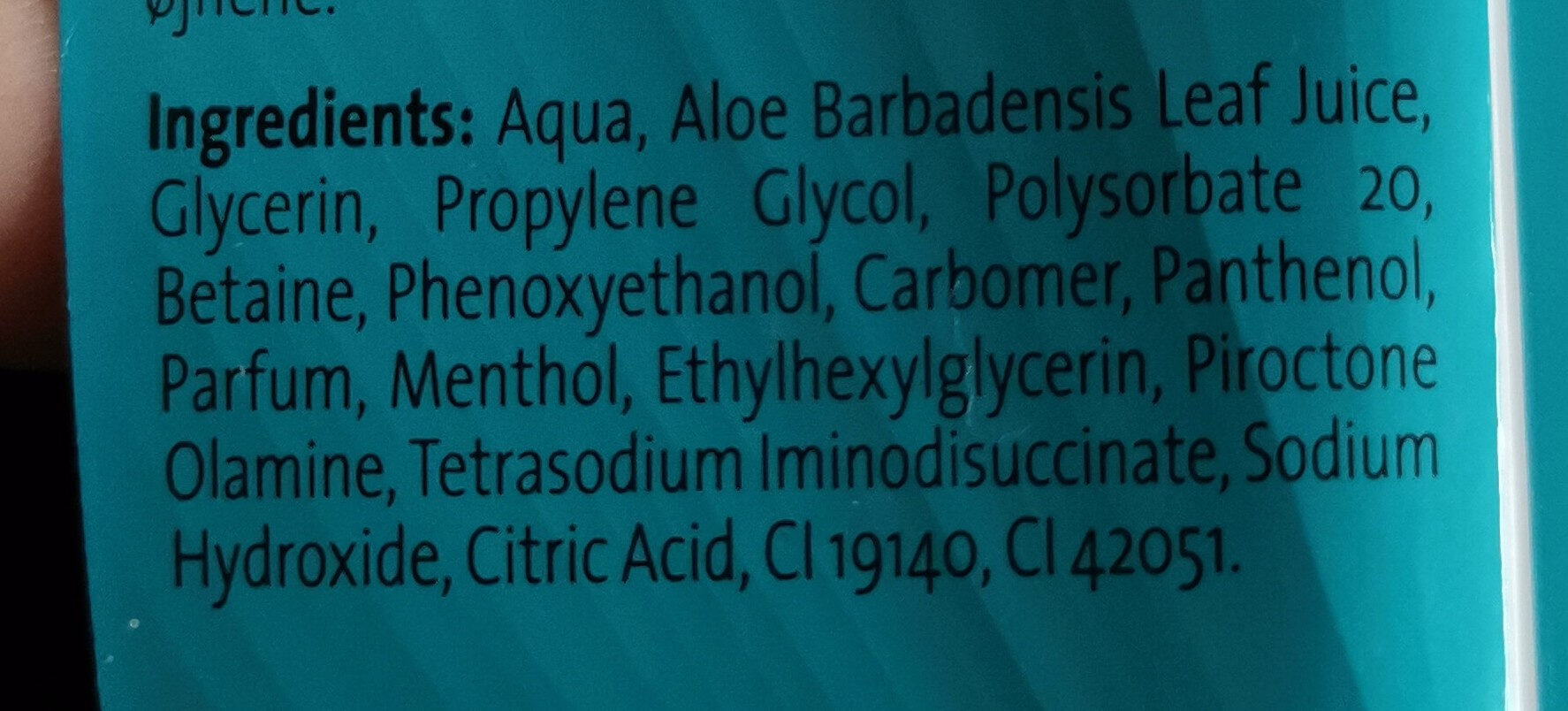 Cooling gel - Ingrédients - en