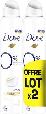 DOVE Déodorant Femme Spray Original O% 2x200ml - Produit