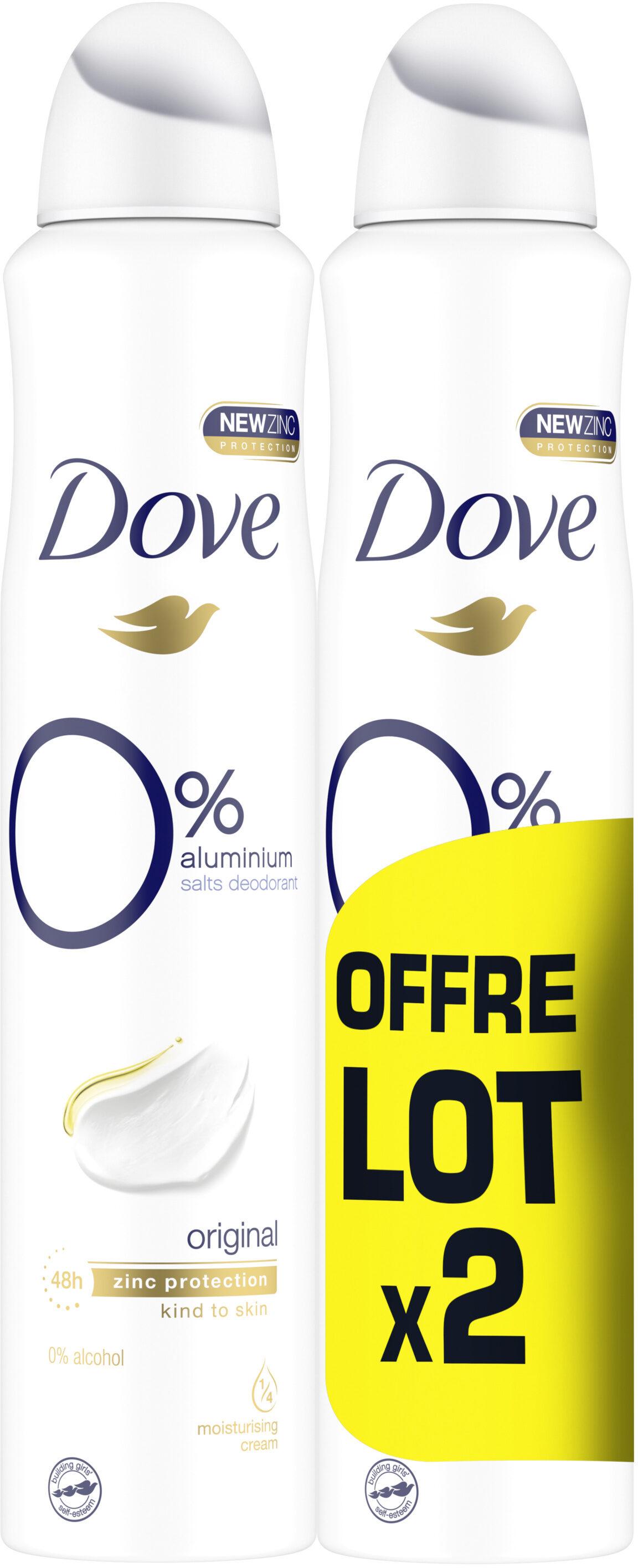 DOVE Déodorant Femme Spray Original O% 2x200ml - Produit - fr