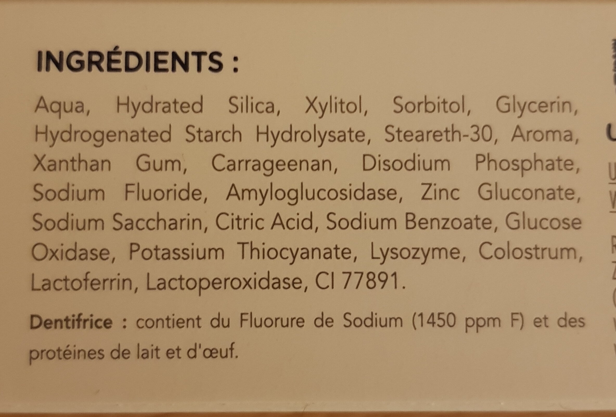 Dentrifrice - Ingredients - fr