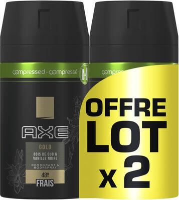 AXE Gold Compressé Déodorant Homme Spray Bois de Oud et Vanille Noir Frais 48H Lot - Product