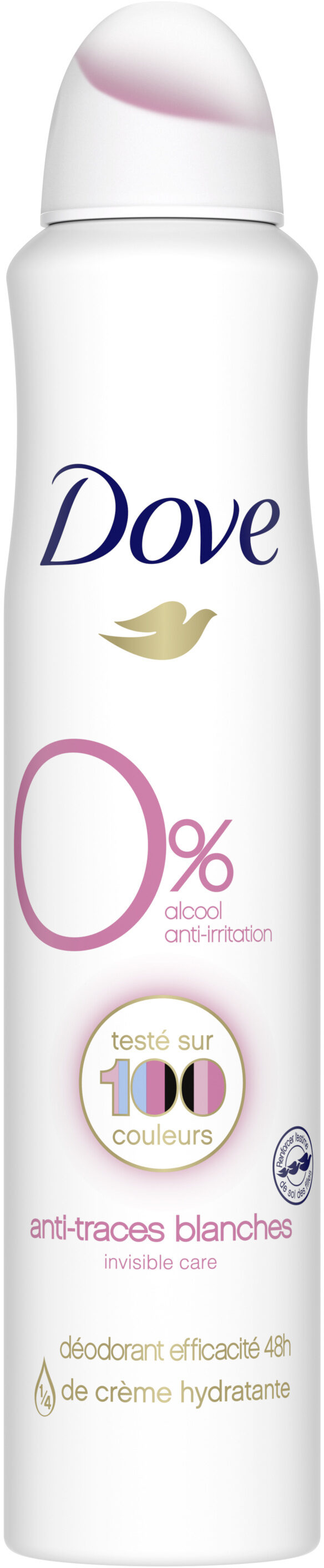 Dove 0% Déodorant Femme Spray Anti-irritation Invisible Care - Product - fr
