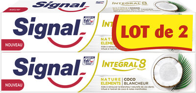 Signal Integral 8 Dentifrice Nature Elements Coco Blancheur 2x75ml - Produit - fr