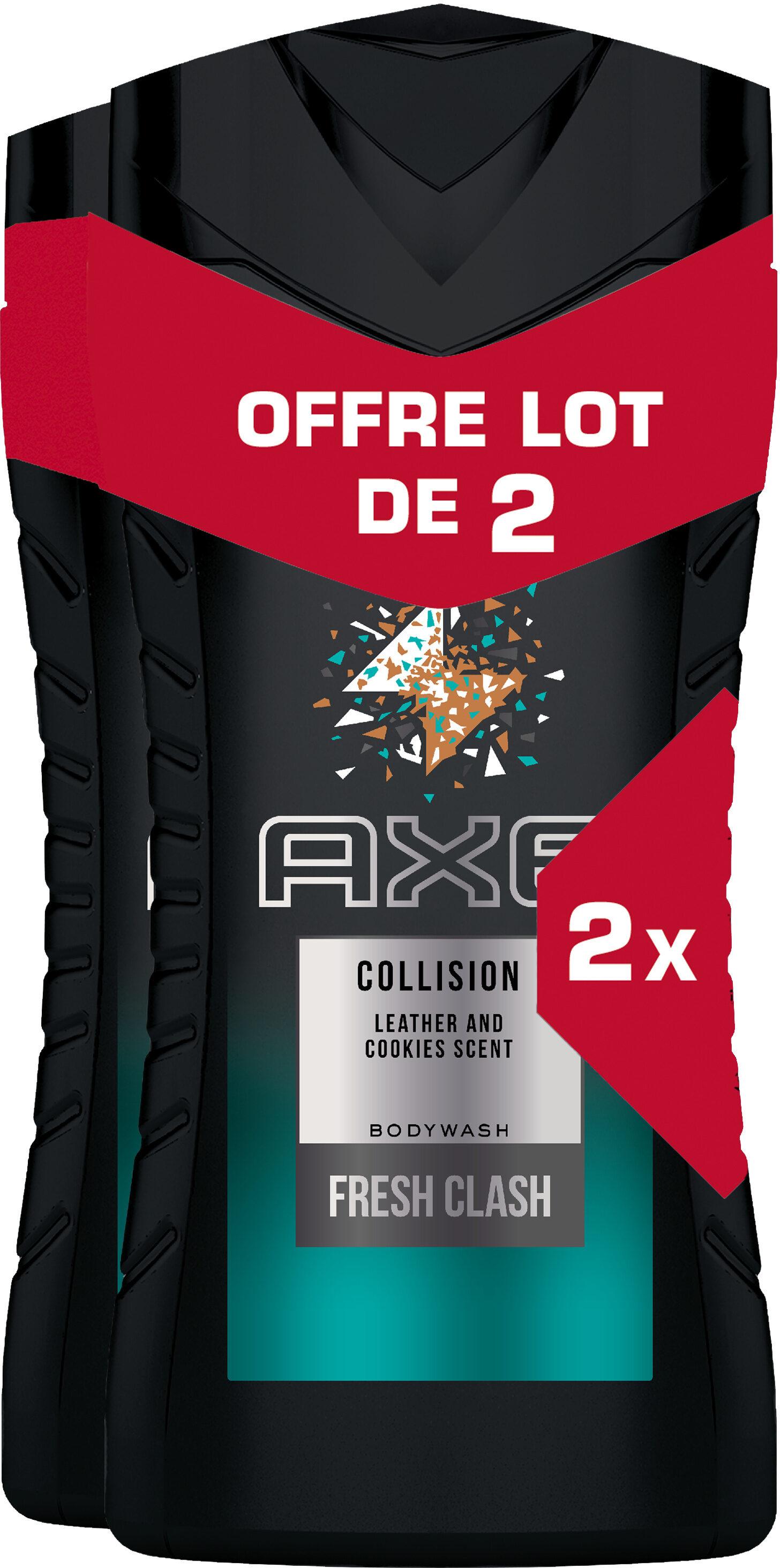 AXE Collision Gel Douche Homme Cuir & Cookies 250ml Lot de 2 - Produit - fr