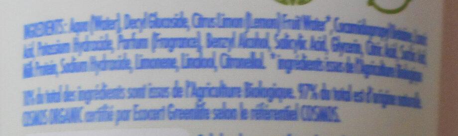 Monsavon Gel Douche Bio Hydratant Senteur Abricot Pointe de Basilic - Ingredients - fr