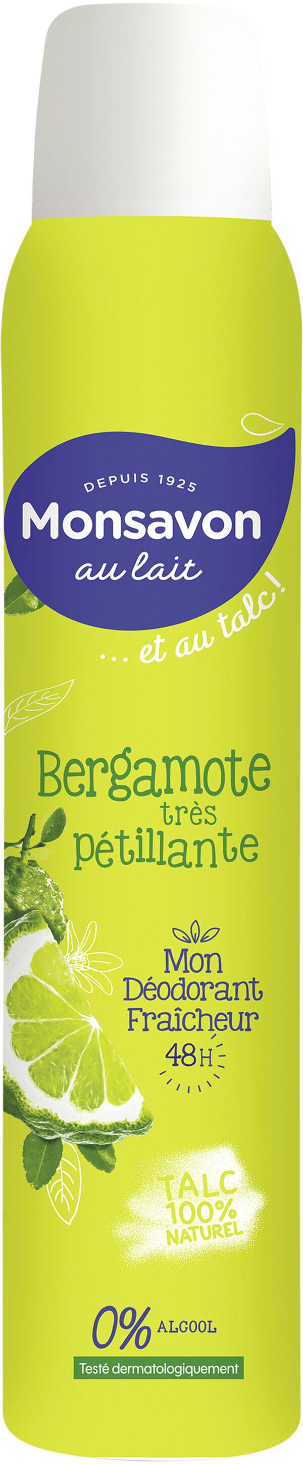 Monsavon Au Lait Déodorant Femme Spray Antibactérien au Talc Senteur Bergamote très pétillante Spray - Product - fr