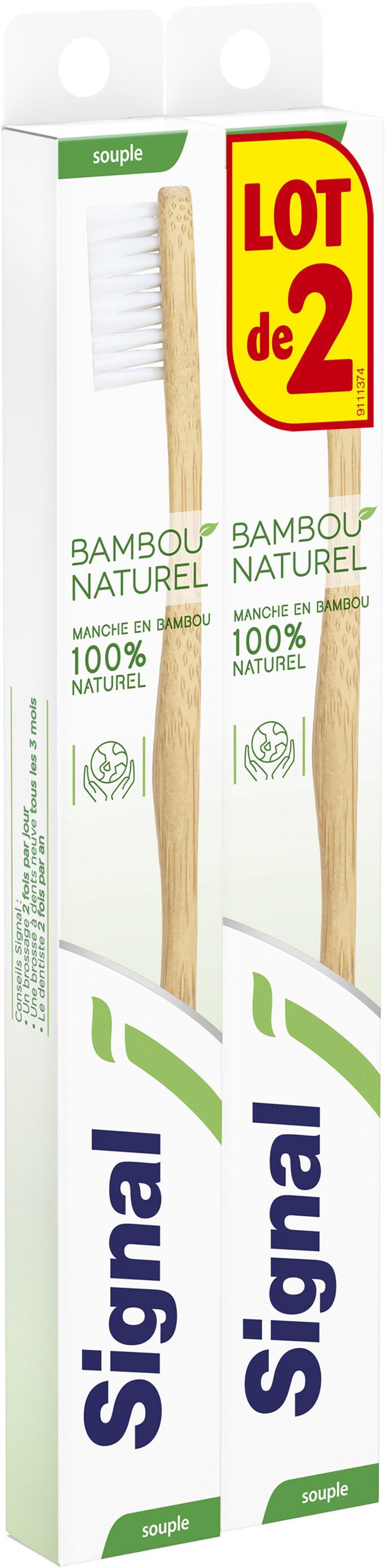 Signal Brosse à Dents Manuelle Manche en Bambou 100% Naturel Souple x2 - Product - fr