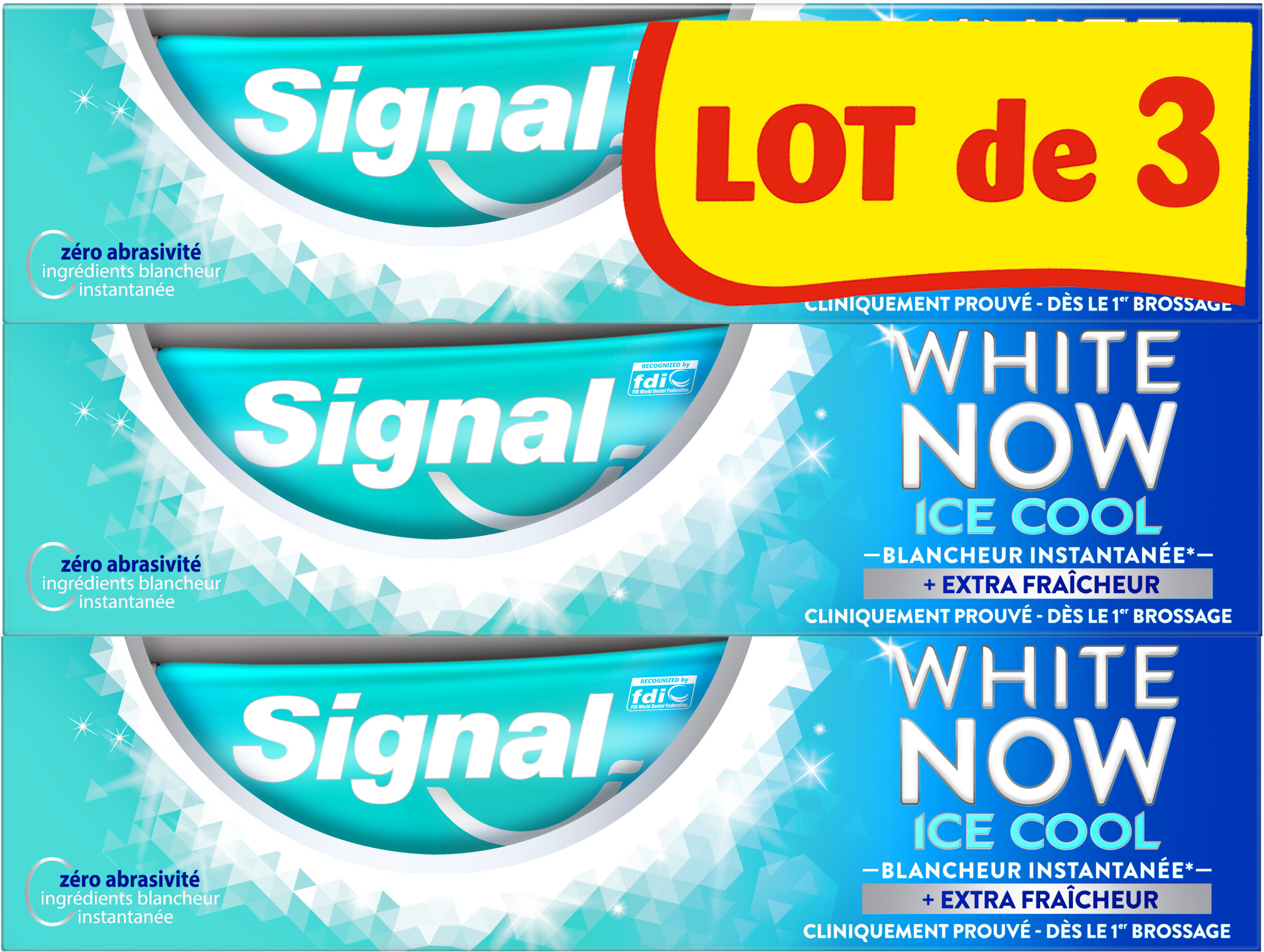 Signal White Now Dentifrice Ice Cool 3x75ml - Product - fr